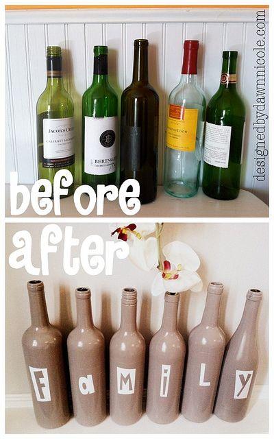 DIY Family Wine Bottle Art #upcycled