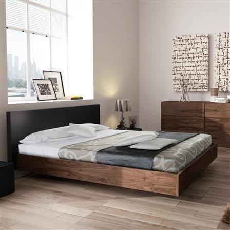 Float Super King Bed Frame, Anthracite/Walnut