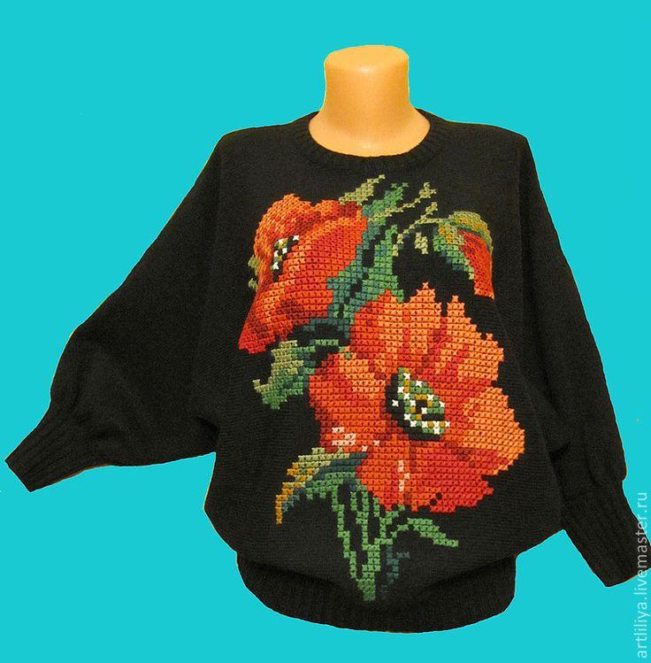 Купить джемпер вязаный женский Красные маки с вышивкой - черный, рисунок, джемпер, джемпер женский
