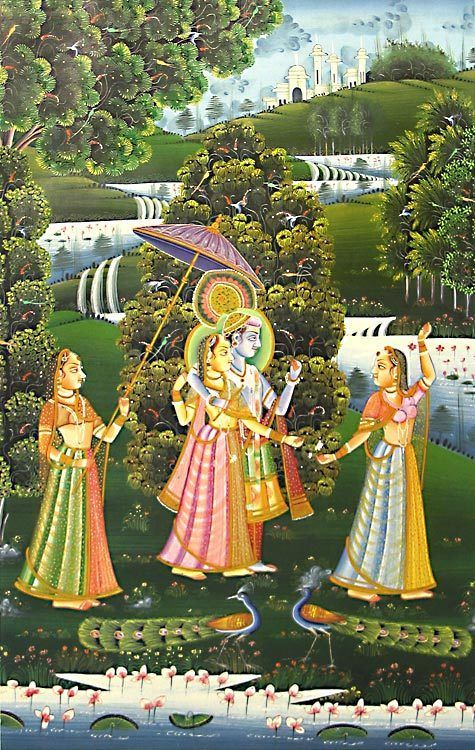 Radha Krishna with Two Gopinis (Reprint on Paper - Unframed)