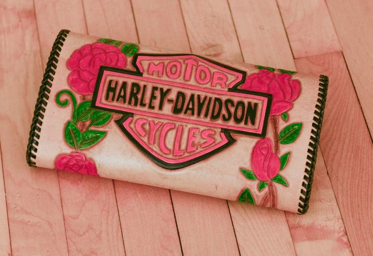 Harley Davidson wallet clutch purse ladies woman's rose flower trifold