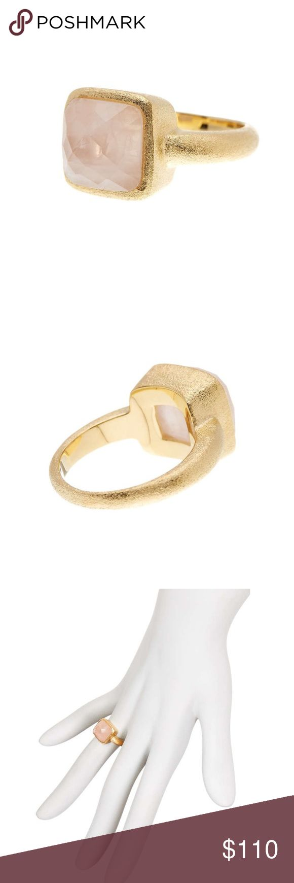 """rivka friedman // 18k rose quartz ring NWT Rivka Friedman 18k gold plated ring with satin finish. Faceted rose quartz stone measures 0.5"""" by 0.5"""". Perfect for stacking or worn alone. The ideal neutral ring every fashionista needs in her wardrobe! rivka friedman Jewelry Rings"""