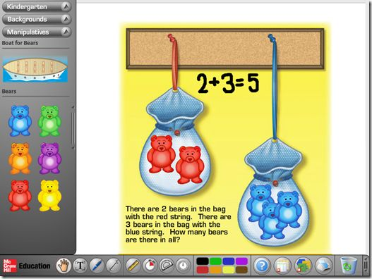 "McGraw Hill Education has an online interactive ""Math Toolbox"" (as I like to call it).  You can select your grade level (PreK-8) and then there are various game boards, story boards and workmats."
