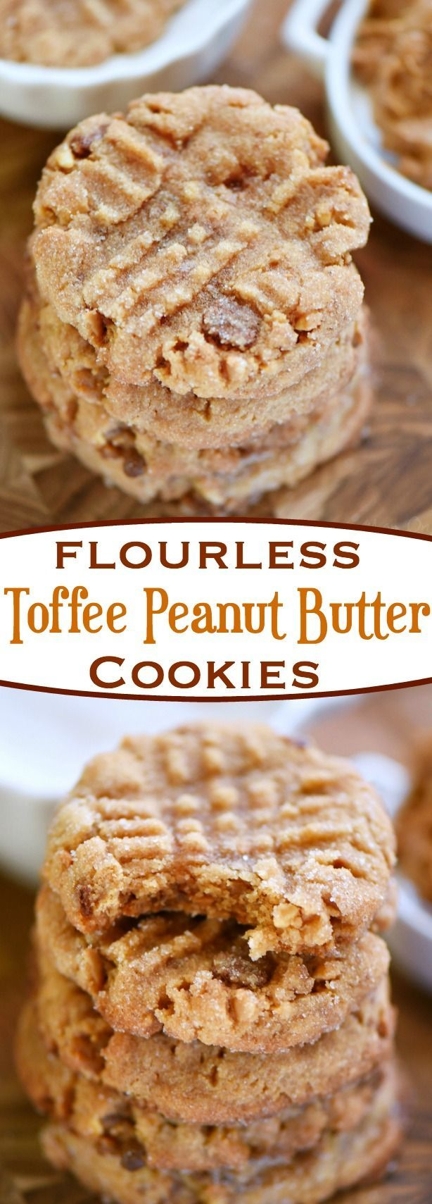 These easy, 5-ingredient Flourless Toffee Peanut Butter Cookies are the most peanut-buttery cookie EVER! The perfect cookie for peanut butter lovers! Serve with an ice cold glass of milk for extreme satisfaction! // Mom On Timeout