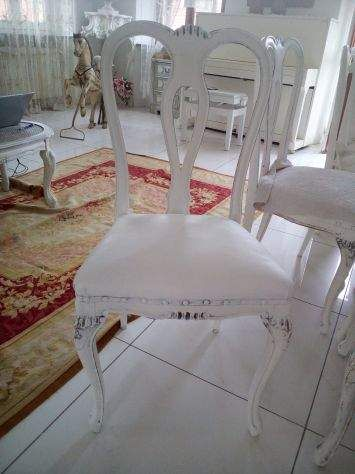 Sei sedie pelle chippendale shabby chic 4