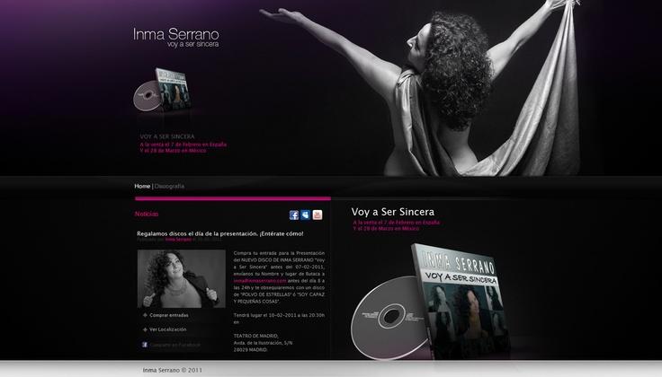"""Diseño web realizado para el lanzamiento del último disco de Inma Serrano """"Voy a Ser Sincera""""  inmaserrano.com"""