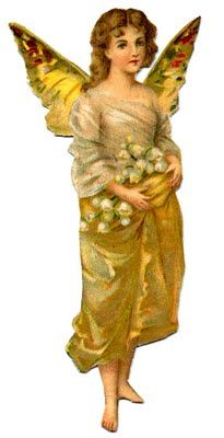 Vintage Image - Golden Fairy Girl & Lucketts Spring Market - The Graphics Fairy