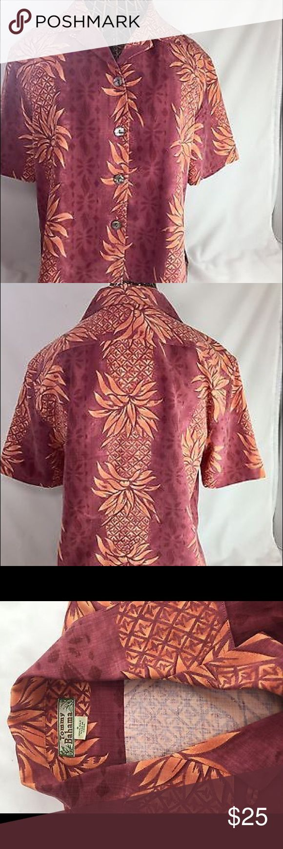 """Tommy Bahama Tropical Print OrangeRust Blouse/Shrt Tommy Bahama Silk Shirt / Blouse Island Print in Shades of Rust + Orange  Size: Small Material: 100% Silk Style: Button Up with Lay-Back Collar Condition: Immaculate - Shows No Wear Material: Rich and Luxurious Feeling Measurements: 21"""" across chest 22"""" collar to hem in back.  Comes from pet free, smoke free, fragrance free home. Tommy Bahama Tops Blouses"""