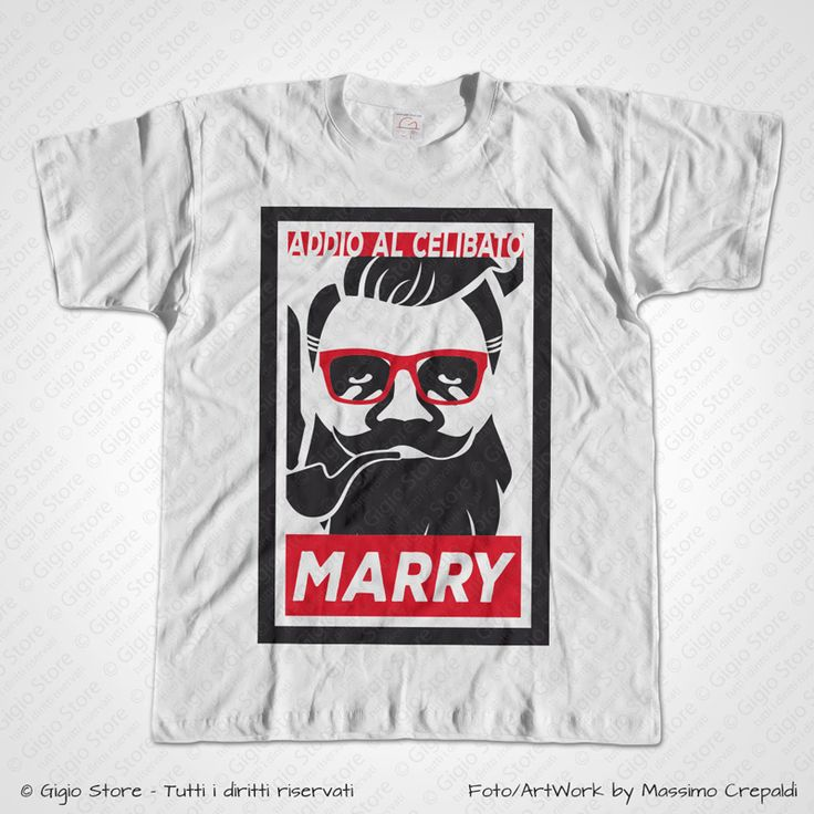 Magliette Matrimonio Addio al Celibato T-Shirt Hipster Obey Parodia. Idee Regalo per Lo Sposo. Personalizza