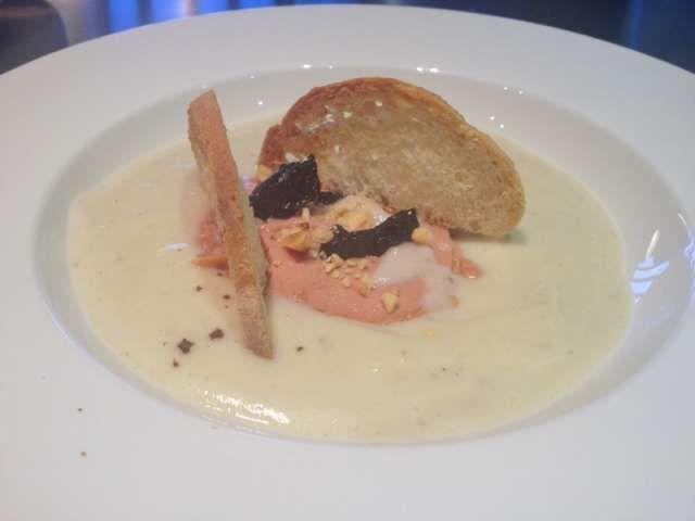 Foie gras con vellutata di topinambour
