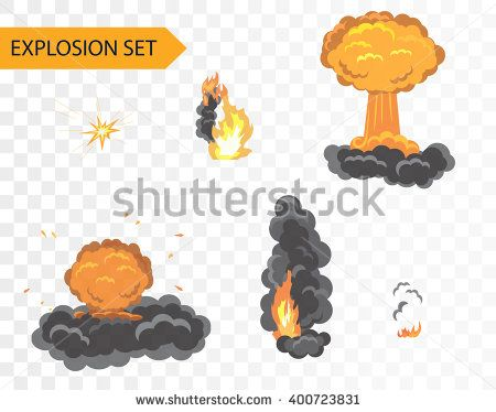 Explode animation effect. Vector cartoon explosion set on alpha background. Explosion effect, Explosion firework, Explosion  flash, Explosion  vector, Explosion  animation, Explosion flame - stock vector