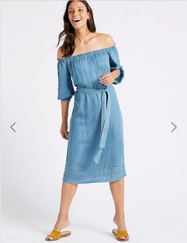 0e1a39d46cd #DenimDress bnwt MARKS & SPENCER BARDOT DRESS UK 22 Eur50 BLUE DENIM COLOUR SOFT  TENCEL