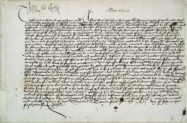 Letter from Jane Grey to the sheriff and men of Surrey, July 1553.