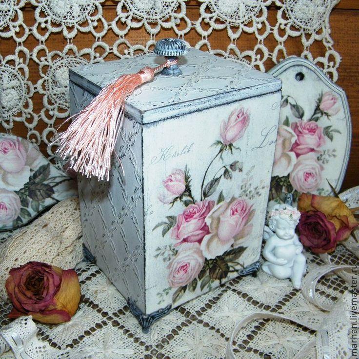 Купить Короб деревянный на ножках Шебби Розы. Декупаж - белый, короб для хранения, короб, коробочка