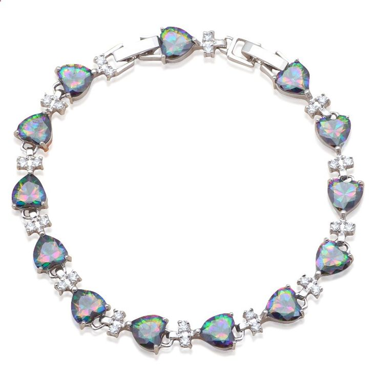 Perfect Gifts for Girlfriend Lovely Heart Rainbow Silver Filled Charm Bracelets Wholesale  Retail Fashion Jewelry TB904A