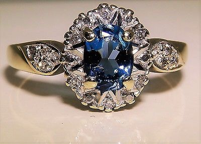 #jewelry 9CT 9KT YELLOW GOLD OVAL LONDON BLUE TOPAZ & DIAMOND KATE CLUSTER RING please retweet