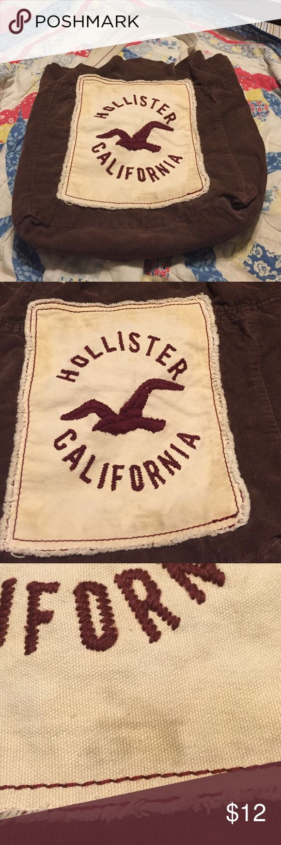 Hollister bag Brown corduroy Hollister bag. Does have one stain on it, can be seen in the third picture. Hollister Bags Shoulder Bags