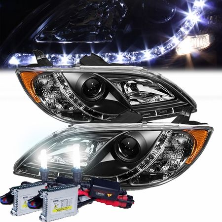 HID Xenon + 04-09 Mazda 3 4DR R8 Style LED DRL Strip Projector Headlights - Black