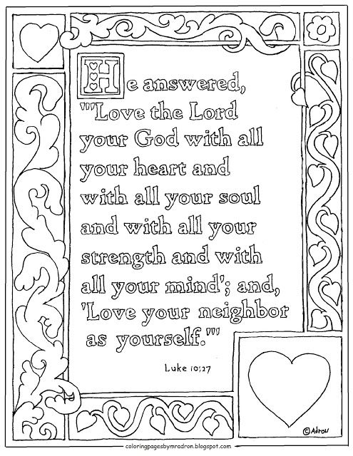 luke printable coloring page love god with all your heart