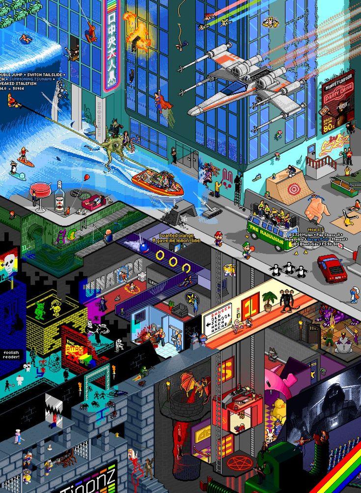 Wunderschön nostalgische Pixel-Art vom Retronator, der das Ding einst für das Joker-Magazin entworfen und nun auch als Poster rausgebracht hat. Mit dabei sind u.a. Spiderman, Schlumpfine, dem dreiköpfigen Affen aus Monkey Island, Mario & Luigi, Sonic & Tales, Superman, Breakdancern, einer fingerboardenden Hand, den Tentakeln aus DOTT, Lemmingen und Darth Vader AUCH INTERESSANT: Filter by [ ]