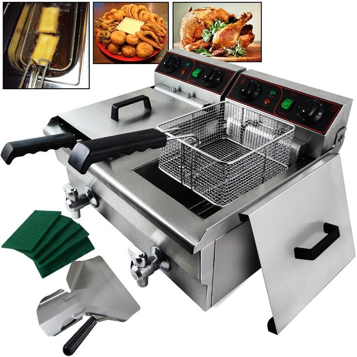 Arksen 1500W Stainless Steel (Silver) Portable 20 Liter Dual Tank Electric Deep Fryer Fries, UL Listed