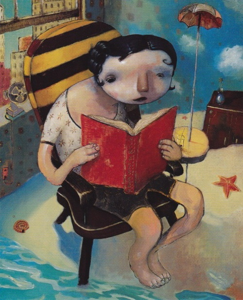 """A great """"summer reading"""" illustration I found in Communication Arts, painted by Joe Sorren."""