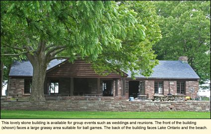 This lovely stone building in Hamlin Beach State Park is available for group events such as weddings and reunions. The front of the building (shown) faces a large grassy area suitable for ball games. The back of the building faces Lake Ontario and the beach.
