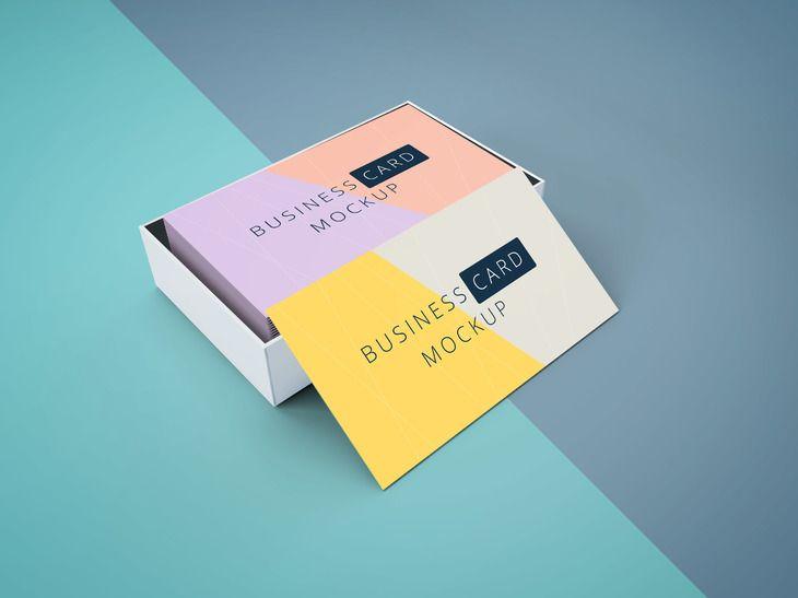 Business Card Mockup In Cardboard Box