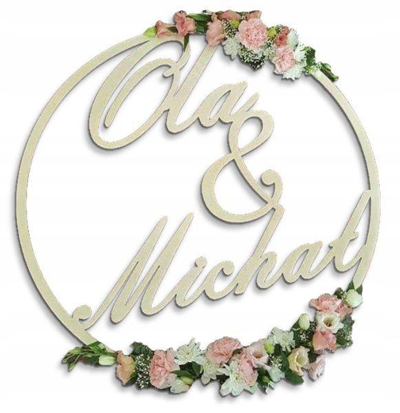 Kolo Z Imionami Pary Mlodej Na Tlo 80cm Sklejka 7797631608 Oficjalne Archiwum Allegro Hoop Wreath Wreaths