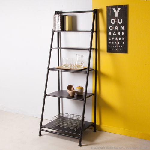 biblioth que 5 tag res en chelle en m tal noir style atelier factory factory pinterest. Black Bedroom Furniture Sets. Home Design Ideas