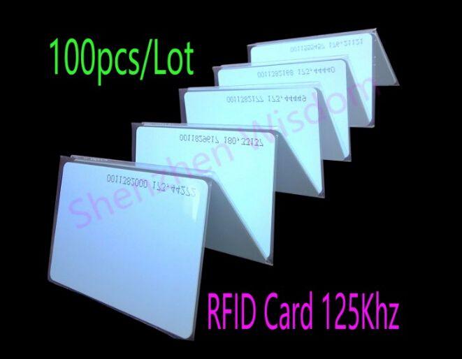 100ピース/ロットrfid 125 Khzカードem4100 tk4100 rfidカード近接スマートカードid pvcカード用アクセス制御時間出席