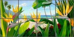 Bird of Paradise Tropical Tile Mural | Pacifica Tile Art Studio
