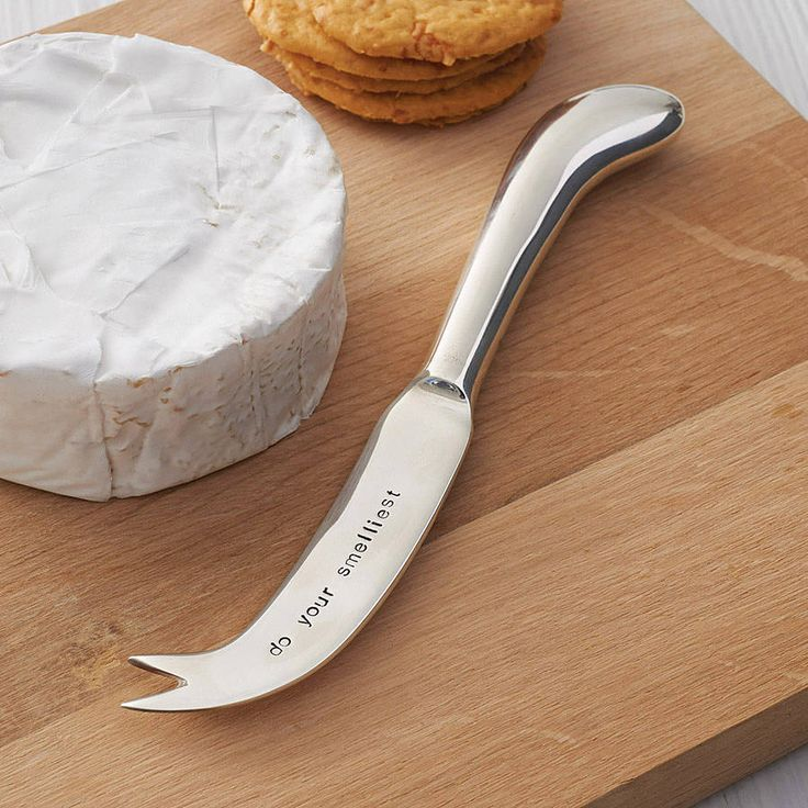 Personalised silver plated cheese knife with your choice of words, up to 25 characters, hand-stamped onto the knife blade. £18.00