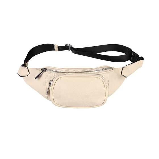 OBC Damen Tasche Gürteltasche Crossbody Leder Optik Hüfttasche Bauchtasche Umhängetasche Cross-Over Bodybag Schultertasche Handytasche Geldtasche Beige