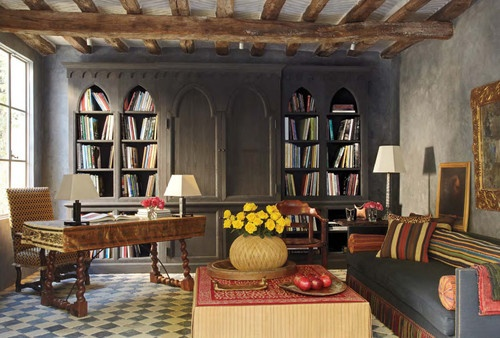 Fresco Library - mediterranean - home office - los angeles - iLA designs - The Fine Art of Classic Fresco