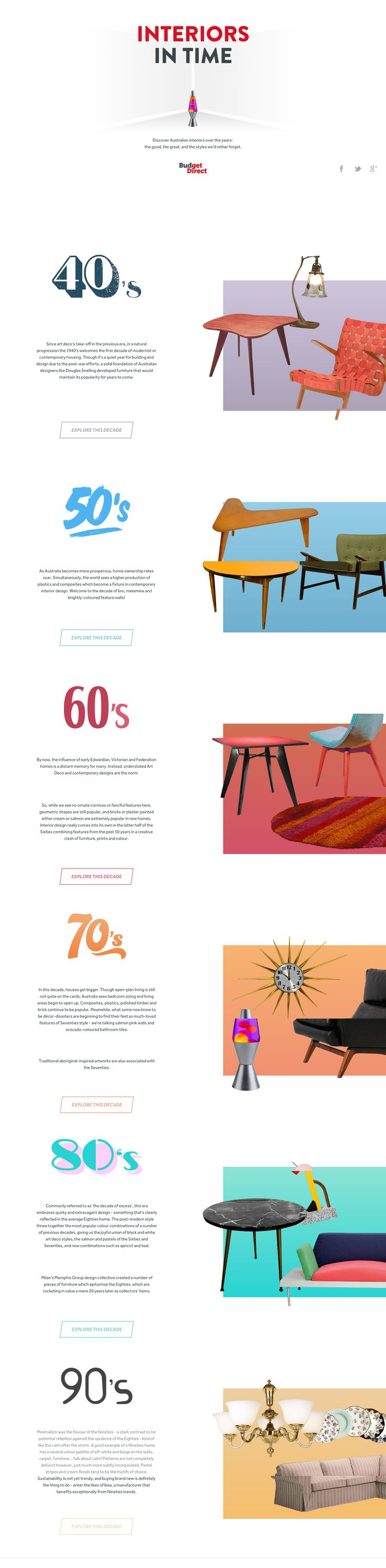 'Interiors in Time' is an interesting One Pager taking a look at the history of Australian interior design through the years. Each (AJAX loading) decade features fun illustrations including interactive Hot Spots with tons of information.
