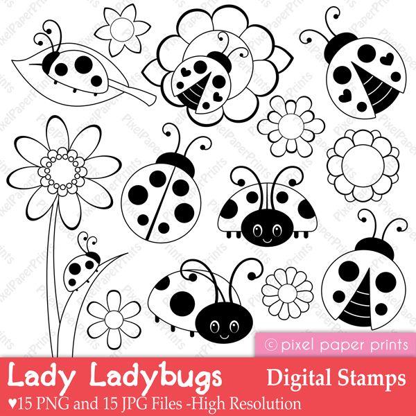 Ladybug digital stamps