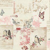 Holden Decor - Tapete Songbird Vogel Schmetterling Rosen Design Postkarte Cremefarben 11264