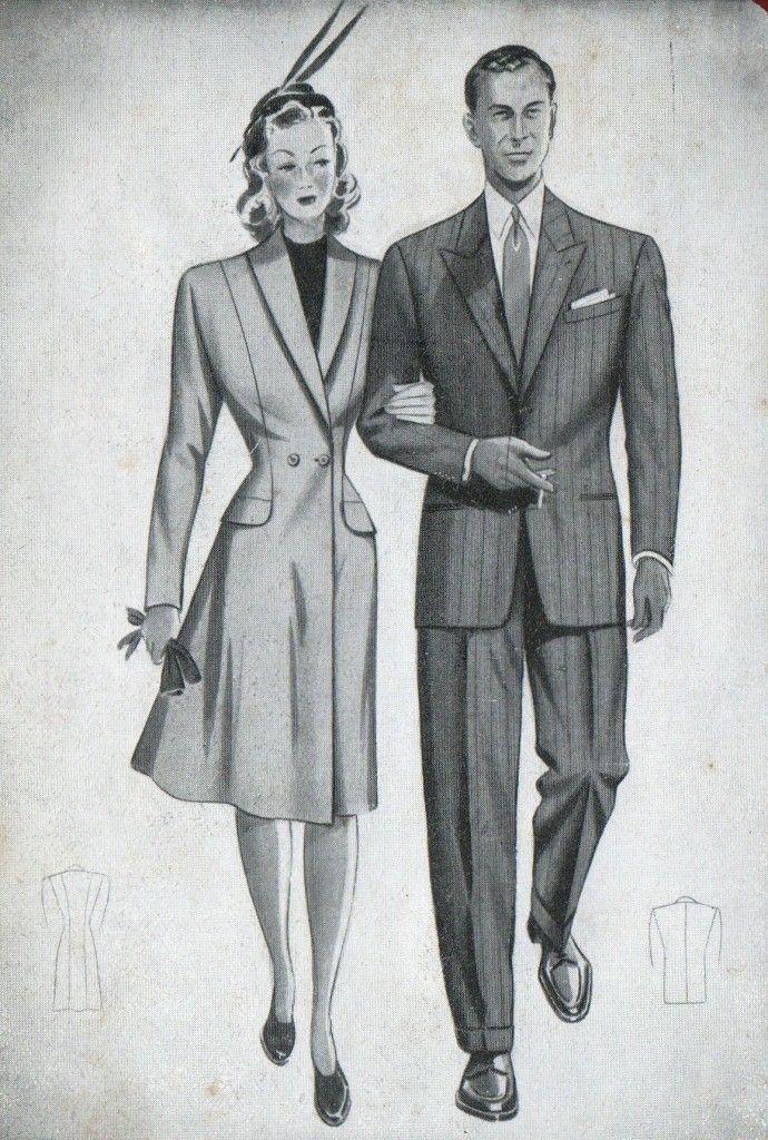 moda anni '40 rimane invariata, spalle larghe, pusto tretto da cintura e gonne accorciate.