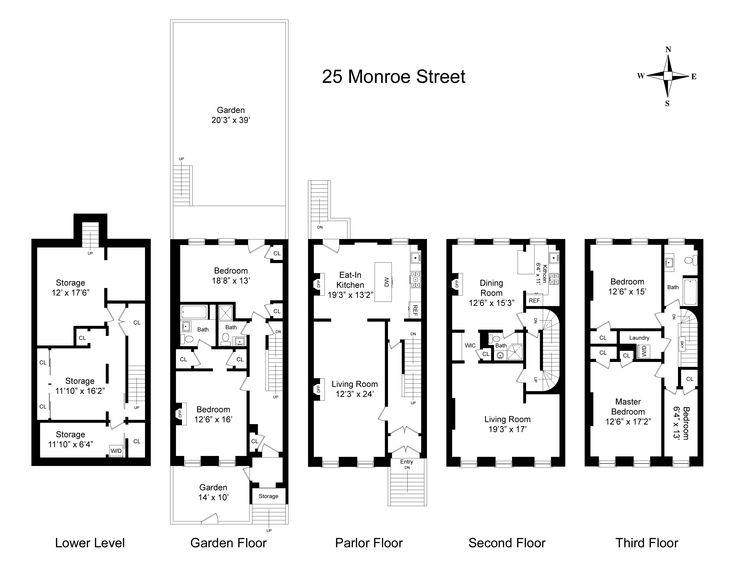 New york city brownstone floor plans for New york house plans