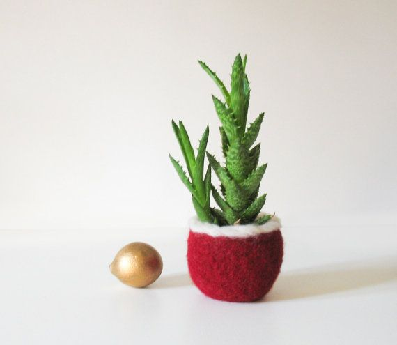 Felt Planter  Felted Pod Christmas Decor Little by totalhandmadeD