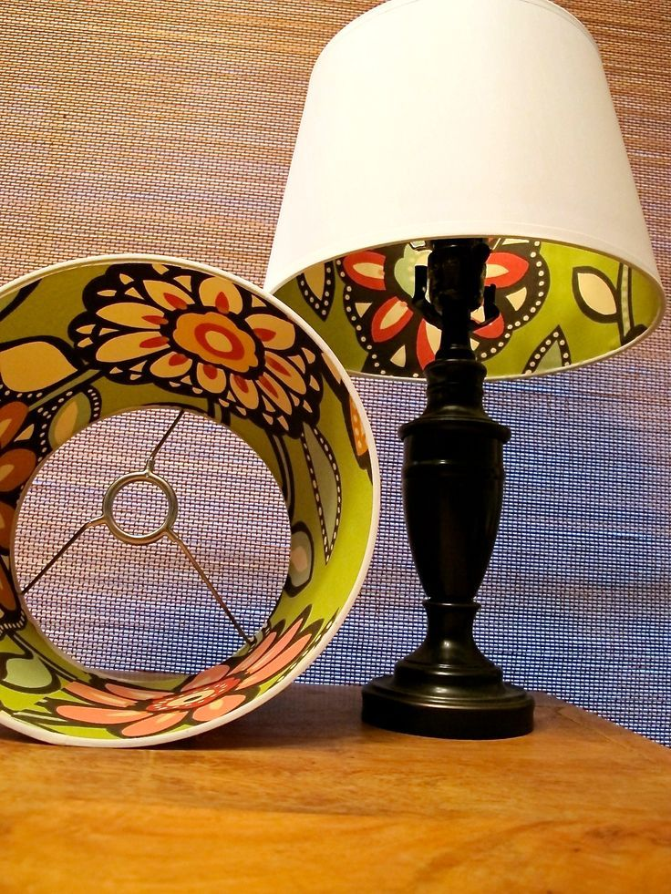 how to refurbish lamp shades...love the print on the inside.