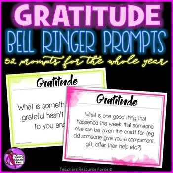 Gratitude bell ringer prompts powerpoint!
