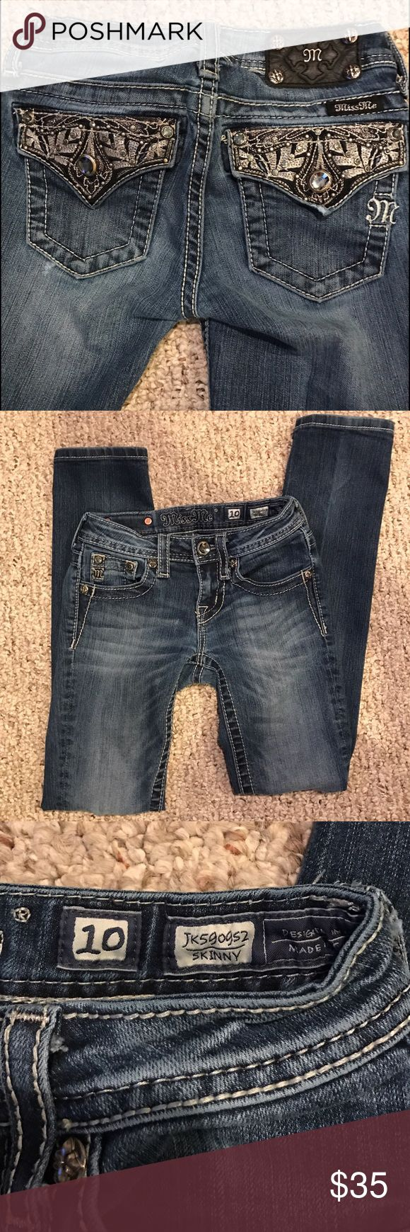 Girls Miss Me Jeans Girls Miss Me Skinny Jeans.. Great condition.. Small tear right around the knee & on the back.. Super cute detail & stitching! Miss Me Bottoms Jeans