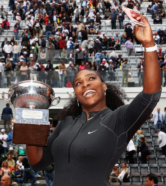 Serana Williams of the United States takes a selfie after winning against Madison Keys of the United States during the Womens Singles Finalduring day eight of The Internazionali BNL d'Italia 2016 on May 15, 2016 in Rome, Italy.