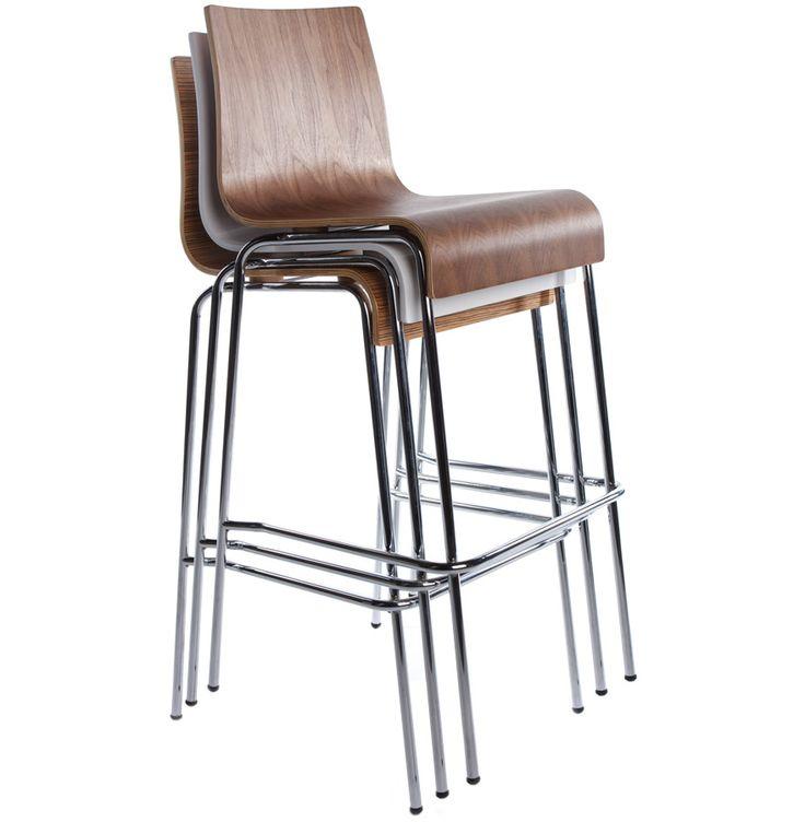 tabouret kwatro son assise en bois et la structure en m tal chrom lui donnent un design assez. Black Bedroom Furniture Sets. Home Design Ideas