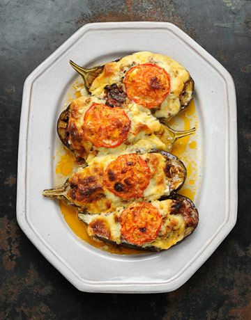 plate with meat stuffed eggplants