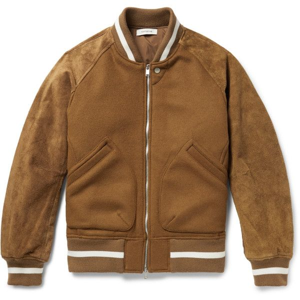 nonnative Wool-Blend and Suede Bomber Jacket ($1,215) ❤ liked on Polyvore featuring men's fashion, men's clothing, men's outerwear, men's jackets, mens suede leather jacket, mens suede bomber jacket and mens suede jacket