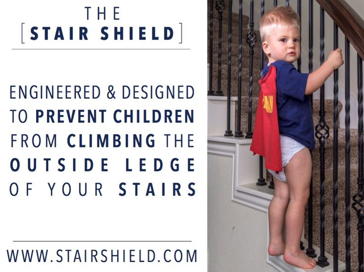 """The Stair Shield keeps toddlers from climbing up the OUTSIDE ledge and outside railings on staircases!   Normal baby gates & stair gates only shield the top/bottom of stairs. But Stair Shield does what baby gates can't do. It's a brilliant solution to a very dangerous & common problem & can be used on stairs w/  gates or on it's own.  It improves child safety & staircase safety so much that it should be a """"must-have"""" baby product for anyone w/ toddlers who live in a home w/ a staircase!"""