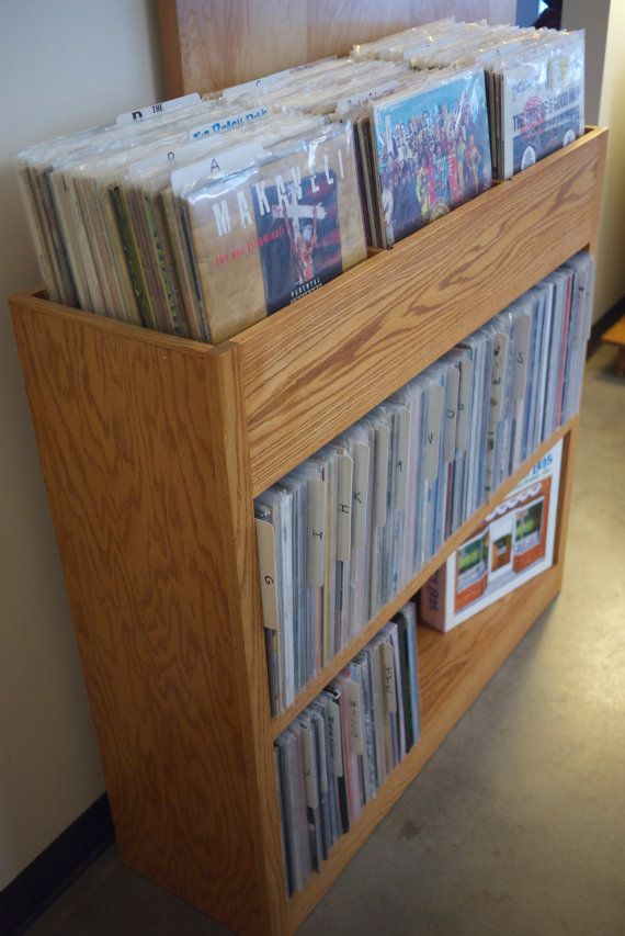 custom built record shelf by on etsy